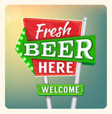 Retro Neon Sign Beer royalty free illustration