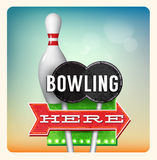 Retro Neon Sign Bowling. Lettering in the style of American roadside advertising vintage style 1950s Royalty Free Stock Photo