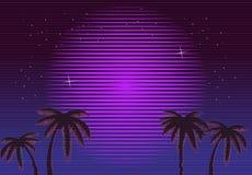 Retro- Neonhintergrund der steigung 80s Palmen und Sonne Fernsehstörschubeffekt Sciencefictionsstrand Stockbild