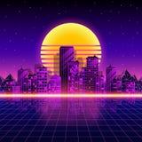 Retro neonstadsbakgrund Neonstil80-tal också vektor för coreldrawillustration Arkivbild