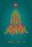 Retro new year. Fashion bright vector fir. Retro new year Royalty Free Stock Image