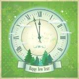Retro New Year card. Stock Photo