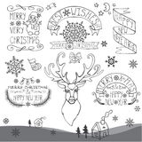 Retro New Year,Christmas Calligraphic badges set. Royalty Free Stock Image