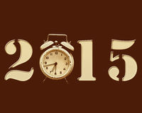Retro New Year 2015. Retro 2015 with old alarm clock replacing the number 0 royalty free illustration