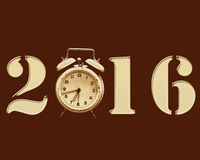 Retro New Year 2016. Retro  2016 with old alarm clock replacing the number 0 Royalty Free Stock Image