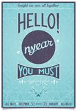Retro new year poster with a cheerful greeting Royalty Free Stock Photo