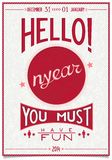Retro new year poster with a cheerful greeting Royalty Free Stock Photography