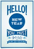 Retro new year poster with a cheerful greeting Royalty Free Stock Images