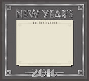 New Year 2016. Retro New Years Party Card or Invitation Art Deco Style 2016 Stock Photo