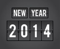 Retro New Year 2014 split-flap board. Retro New Year 2014 analog countdown counter Royalty Free Stock Photos