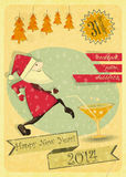 Retro New Years Card. With Christmas Tree and Santa Claus. Invitation to the New Year Party. illustration vector illustration