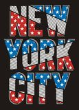 Retro  New York City texture America Flag,  Vector. Stock Photos