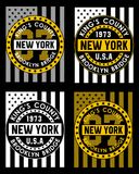 Set athletic new york , vectors. Set athletic new york , screen printing easy on color separation, t shirt graphic , poster festival Stock Illustration