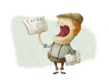 Retro Newsboy Selling Newspapers Royalty Free Stock Images