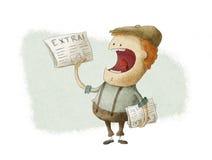 Retro Newsboy som säljer tidningar Royaltyfria Bilder