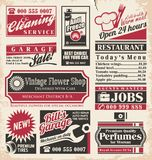 Retro newspaper ads design template Stock Image
