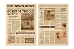 Retro newspaper. Daily news articles yellow newsprint old magazine. Media newspaper pages. Vintage paper journal vector vector illustration