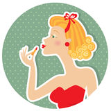 Retro nice woman and make up Royalty Free Stock Image