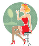Retro nice woman and make up Royalty Free Stock Photo