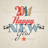 Retro Nieuwjaarskaart 2014 Stock Foto's