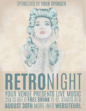Retro night invitation flyer with rockabilly girl. Beautiful woman with retro hair on party flyer Stock Photos