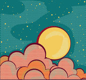 Retro night sky and clouds Stock Photo