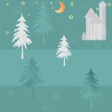 Retro night winter christmas house and trees background Stock Photos