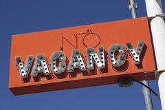 Retro no vacancy neon sign Stock Photography
