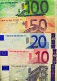 Retro nota dell'euro di sguardo Fotografia Stock