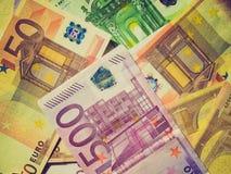Retro nota dell'euro di sguardo Fotografia Stock Libera da Diritti