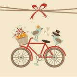 Retro nozze sveglie, compleanno, carta della doccia di bambino, invito Bicicletta ed uccelli Fondo dell'illustrazione di caduta d illustrazione di stock