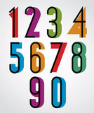 Retro numbers, bold condensed numerals set. Stock Image
