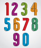Retro numbers, bold condensed numerals set. Stock Images