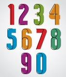 Retro numbers, bold condensed numerals set. Stock Images