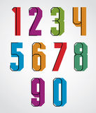 Retro numbers set, bold condensed numerals typeface. Royalty Free Stock Images