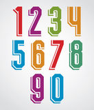Retro numbers set, geometric numerals typeface. Royalty Free Stock Photo