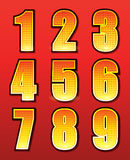 Retro numbers for signs with lamps Stock Photo