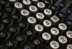 Retro Numeral Keys. Closeup of old numeral keys from an old machine Royalty Free Stock Images