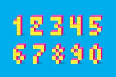 Retro numeri del video gioco del pixel retro fonte di alfabeto di 80 s illustrazione vettoriale