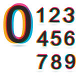 Retro numeri variopinti fissati. Fotografia Stock