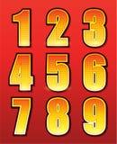 Retro nummer för tecken med lampor stock illustrationer