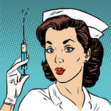Retro nurse gives an injection syringe medicine health Stock Image