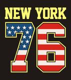 Retro NYC liczby 76 America tekstury chorągwiani wektorowi wizerunki Obrazy Stock