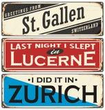 Retro ośniedziała cyna znaka kolekcja z Szwajcaria miasta imionami ilustracji