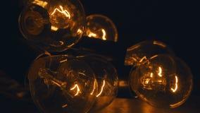 Retro oświetlenie w loft stylu Set rocznik żarówki na czerni Obraz Stock