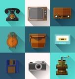 Retro Object Icons. Illustration of retro object  flat icons Stock Photos
