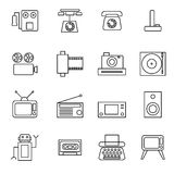 Retro object line icons set vector illustration Stock Image