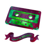 Retro object - watercolor audio cassette. Royalty Free Stock Photo