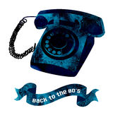 Retro object - watercolor telephone. Royalty Free Stock Photos