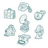 Retro objecten geplaatste pictogrammen Stock Foto